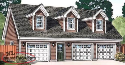 3 bay garage with upstairs apartment 4 sets gander for Garage apartment plans canada