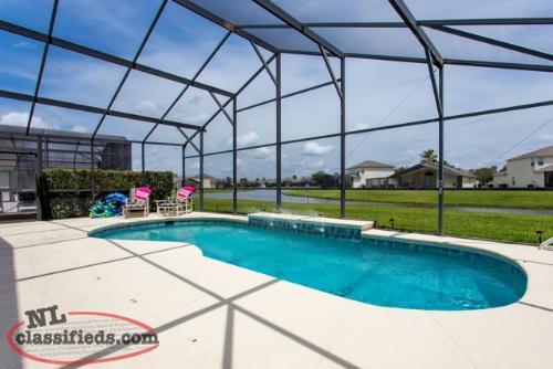 Florida lakeside pool home very close to disney nl for Florida pool homes