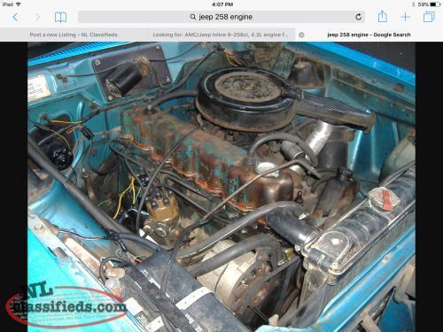 looking for amc jeep inline 6 258ci 4 2l engine from 1971 1990 flatrock newfoundland. Black Bedroom Furniture Sets. Home Design Ideas
