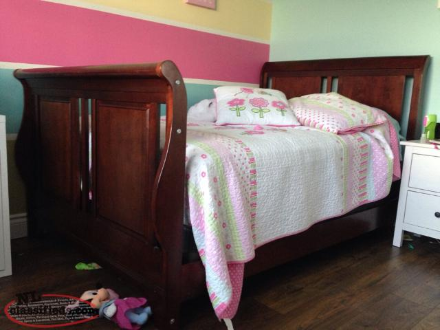 Solid wood crib convertible to bed and matching dresser for Matching bed and dresser