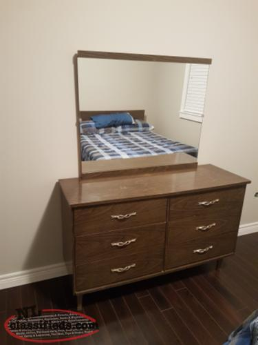 Twin bed with mattress bed spring with matching dresser for Matching bed and dresser