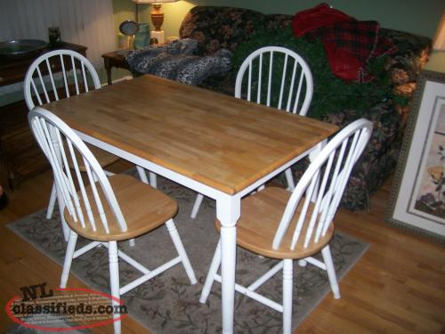 country style solid wood table and 4 chairs goulds newfoundland