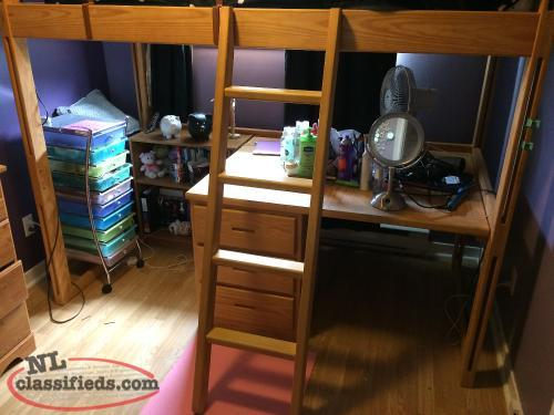 Loft bed and matching desk mount pearl newfoundland labrador for Bedroom set with matching desk