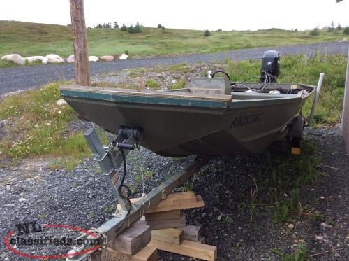 18 ft lund jon boat motor trailer sunnyside for Jon boat with jet motor